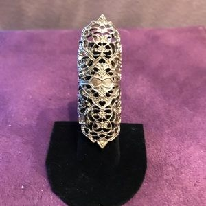 Beautiful silver plated filigree long ring Sz 7